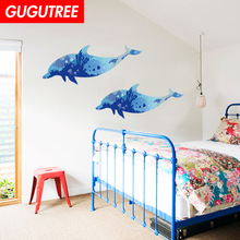 Decorate sea fish dolphin art wall sticker decoration Decals mural painting Removable Decor Wallpaper LF-1854 все цены