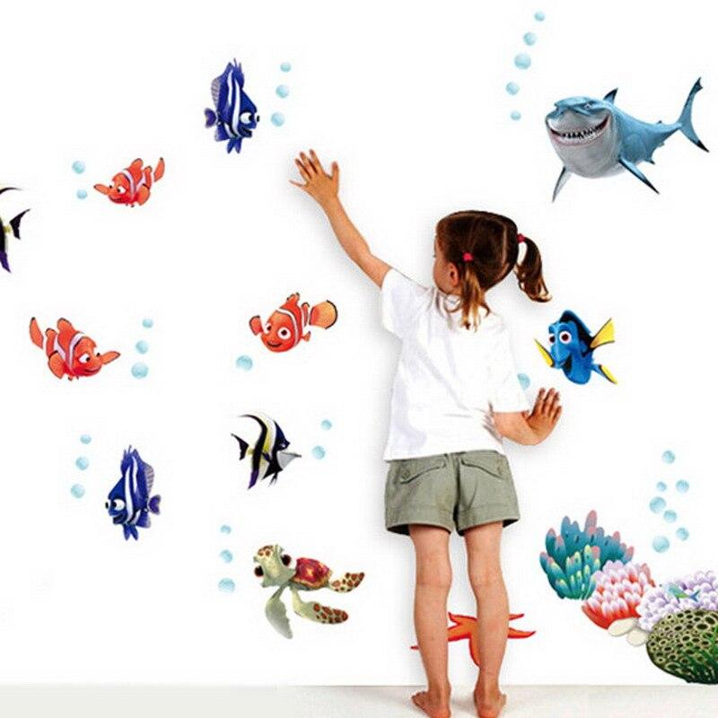 ocean view fish diy wall sticker nursery bathroom wall decals sea portal peel stick wall art