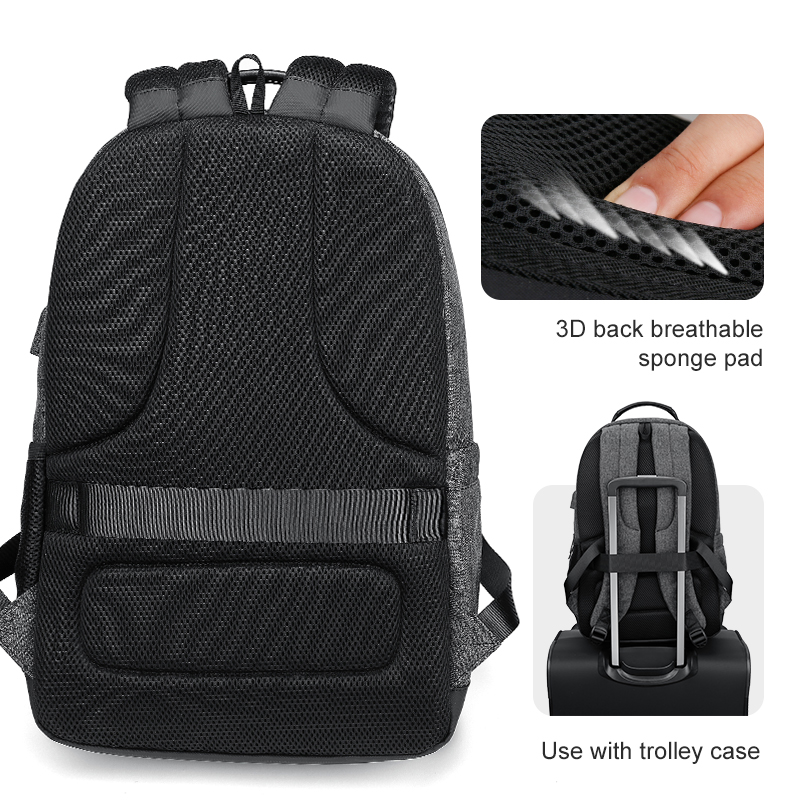 Homme Pouces Ryden Black gray Portable Sac 15 Recharge Usb Étanche Mark Dos Hommes À Pour 6 Multifonction Ordinateur FqZwZd