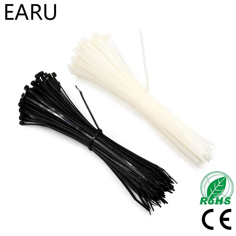 100 Uds. 3X60/80/100/120/150/200mm blanco negro leche Cable alambre Zip corbatas bloqueo automático Nylon Cable