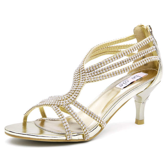 88af446914937 SheSole brand 2016 womens mid heeled sandals 6.5cm kitten heels rhinestone  sparkly ankle strappy summer leather wedding shoes-in Women's Sandals from  Shoes ...