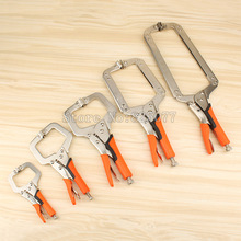 купить 1PCS 11 14 18 inch Face Clamp Locking C-Clamp Pliers Easy Quick Release For Dowelling Jig and Pocket Hole Jig Woodwork JF1117 дешево
