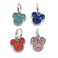 EVERYSHINE Wholesale mickey mouse Pattern Bracelet Necklace Pendant Beads with Bow Silver Plated DIY Jewelry Accessories JPP299