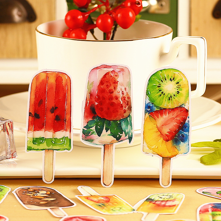 15pcs Summer Fruit Icecream Scrapbooking Stickers Fruits DIY Craft Sticker Pack Photo Albums Deco Diary Deco