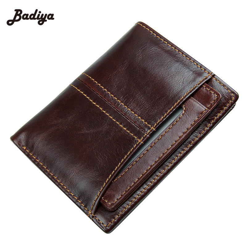 RFID Blocking Real Genuine Leather Men Wallet Bifold Cow Purse Wallets European Style Short Card Holder For Man