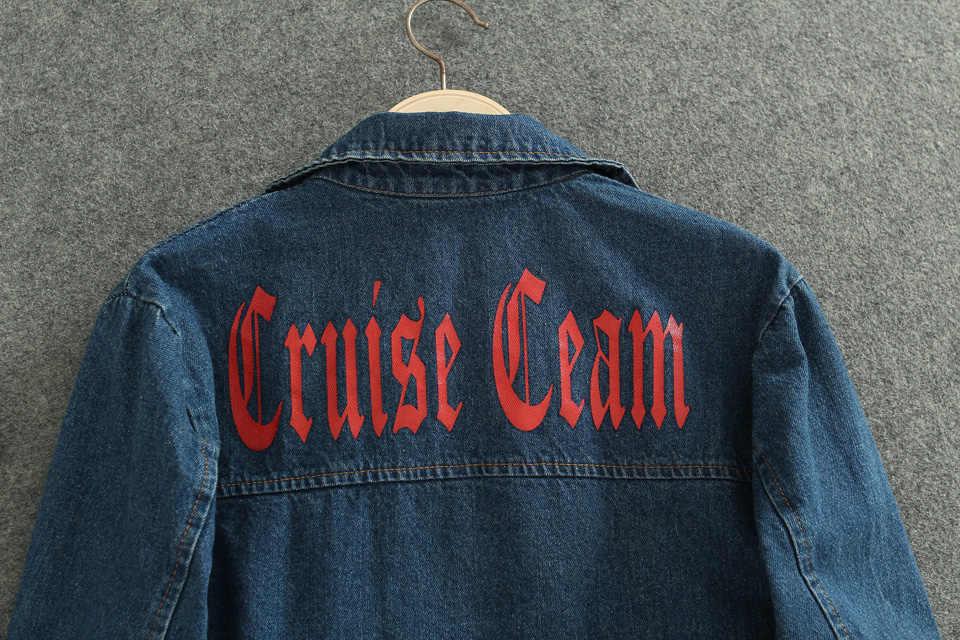 Женские базовые пальто, женская джинсовая куртка, винтажная Свободная Женская джинсовая куртка с длинным рукавом, Повседневная Верхняя одежда для девочек B401