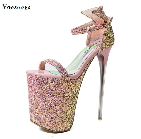 Large Sizes 34-43 Fashion Summer Women High Heels Sandals 20cm Sexy Stripper Shoes Party Pumps Shoes Women Platform Sandals new 2018 high heel shoes woman sandals rhinestone platform pumps high heeled 20cm summer women pumps fashion party prom shoes