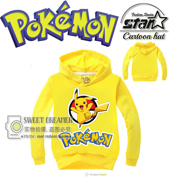 Cute Kids Causal Hoodie Coat Cartoon Pokemon GO Pikachu Fashion Sweatshirt for 4-11yrs Child Boys Girls Outerwear Hoody Clothes