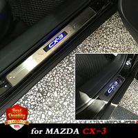 LED Lights Car Stainless Steel Door Sills Scuff Plate Fit for Mazda CX 3 Dual Tone Door Threshold for MAZDA CX3 2015 2018