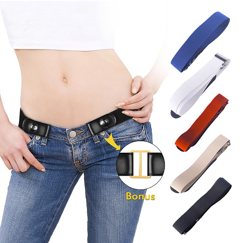 Belt-Buckle Jeans Elastic For Pant Dresses Women No-Hassle Bulge Waist-Belt Dropship