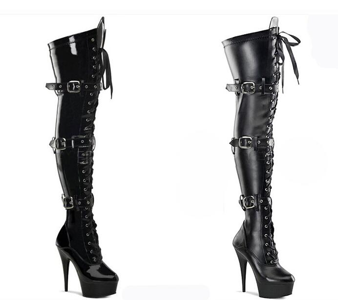 20cm Front Platform High-Heeled Shoes Tall Boots Buckle Strap Round Toe Boots Dancer So Sexy 8 Inch Buckle Thigh High Boots20cm Front Platform High-Heeled Shoes Tall Boots Buckle Strap Round Toe Boots Dancer So Sexy 8 Inch Buckle Thigh High Boots