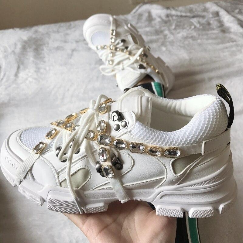 Marque de luxe Strass décontracté Plate-Forme Chaussures Femmes Sneakers Cristal Bracelet Croix-attaché Automne Mode Femme Papa Chaussures Femme