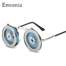 Emosnia Unisex 2019 Retro Steampunk Sunglasses Men Women Cool Funny Flip Punk Round Sun Glasses Google New Vintage Eyewear UV400