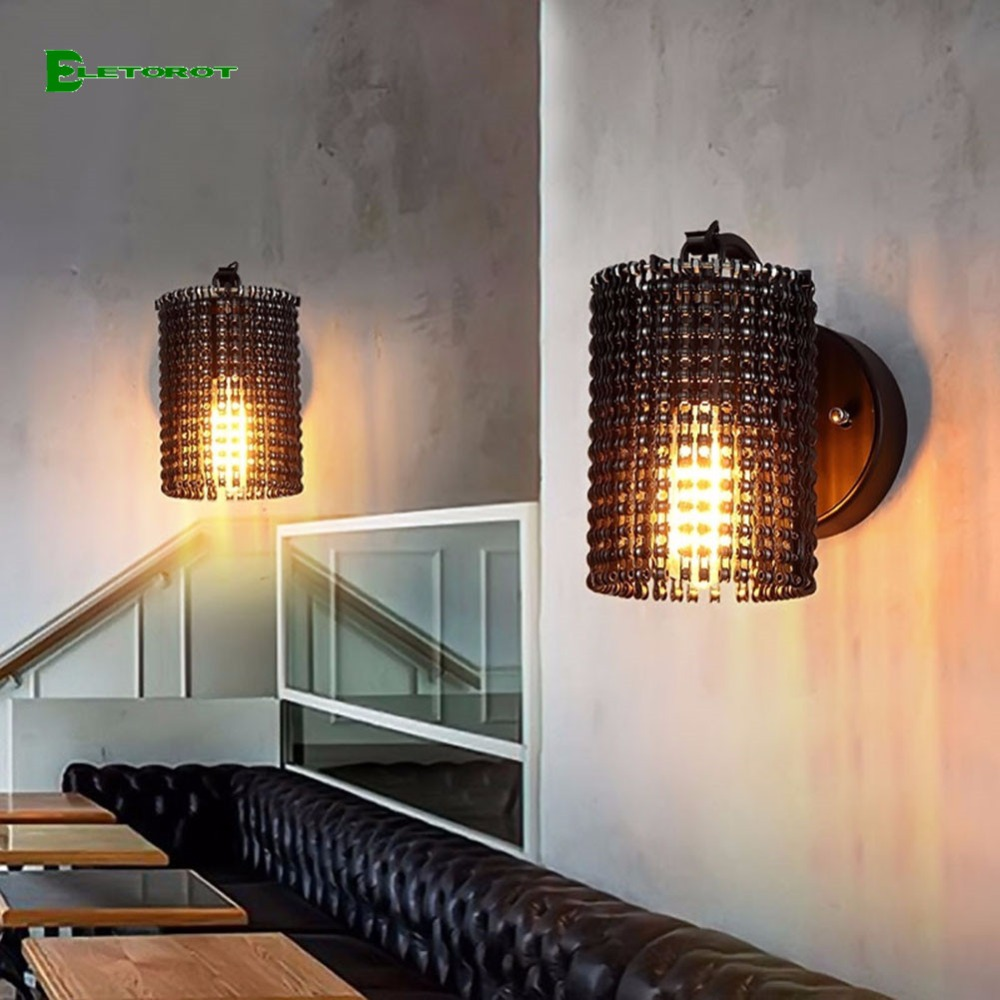 eletorot e26e27 metal wall sconces indoor outdoor retro wall lamp bedroom living room decoration wall light