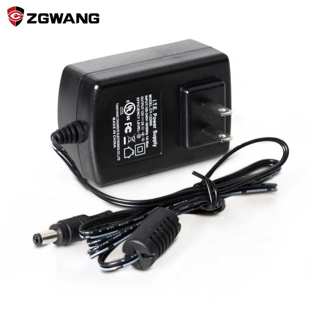 ZGWANG DC 12V 2A Power Supply Adapter for CCTV Camera Waterproof Outdoor Indoor Power Adapter EU/US/UK Plug UL FCC Certification 12v 5a 8ch power supply adapter work for cctv suveillance camera system dc 12v power supply 8 port dc pigtail coat