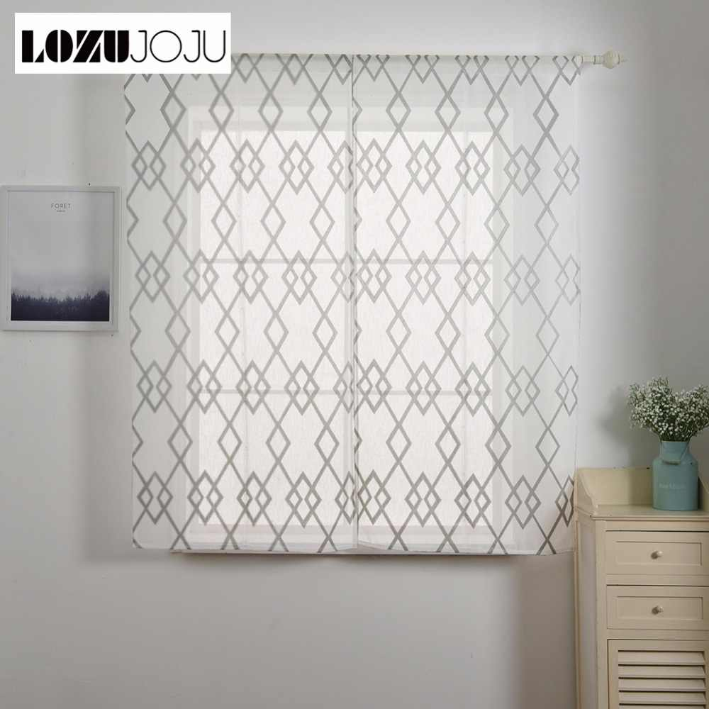LOZUJOJU 1 piece Short roman curtain plaid tulle drops for kitchen windows doors thread fabric curtain with blue brown color