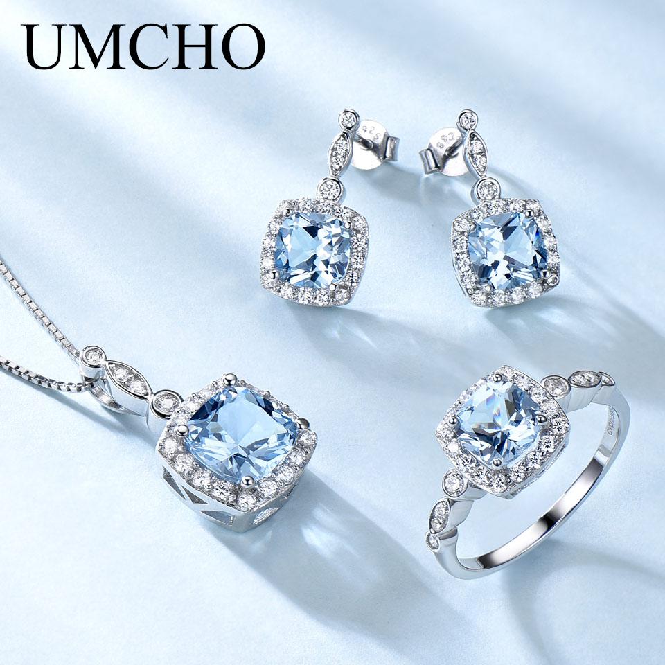 UMCHO 925 Sterling Silver Jewelry Set Sky Blue Topaz Ring Pendant Stud Earrings For Women Wedding