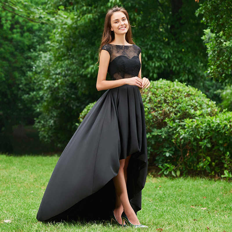 5167cebe288da Tanpell asymmetry prom dresses black lace cap sleeves sweep train a line  gown women graduation party customed long prom dress