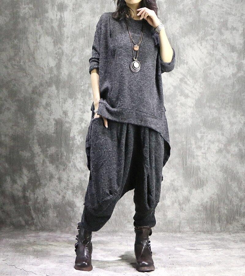 Noir gris Harem 2018 Élastique Costumes Printemps Pantalon Automne Occasionnels Dames Tops Femelle Irrégulière Ensembles Femmes Taille A4w6Zxqw