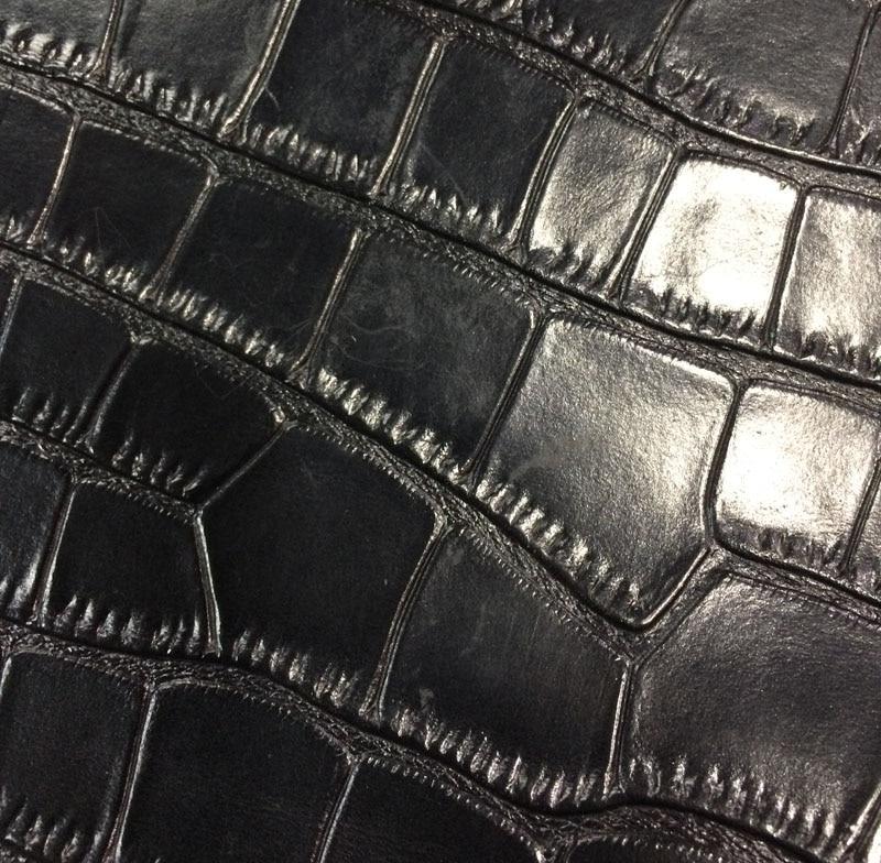 Nero Genuino spaccato della mucca pelle di coccodrillo goffrato vendita da tutto il pezzo - 3