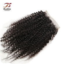 Bobbi Collection Afro Kinky Curly Lace Closure Brazilian Non Remy Human Hair Natural Black Color 8 20 inch 4x4 Lace Closure