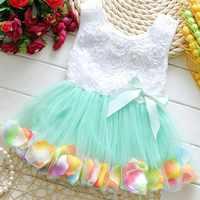 Summer Dress Kids Dresses For Girls Beautiful Petal Princess Dress Party Prom Dresses Tutu Lace Bow Tulle Girl Vestidos