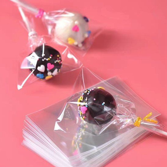 100pcs/pack Cake Pop Lollipop OPP Packing Bags Baking Chocolate Pop Pack Bags Sets Plastic Clear Cake Tools image