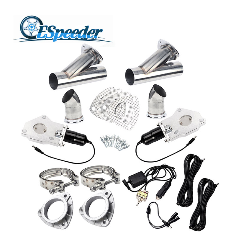 ESPEEDER 2.5 Inch Exhaust Cutout Stainless Steel Y Headers Catback Pair Manual Switch Control Two Vavle Cut Out Pipe Kit