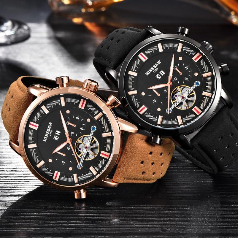 Marca superior de lujo BINSSAW 2018 nuevos hombres Tourbillon reloj - Relojes para hombres - foto 5