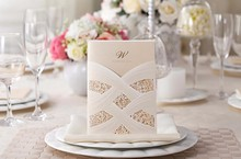 50pcs lot Lace Laser Cut Wedding Invitations White Red Free Customize Inner Sheet Laser Cut Wedding