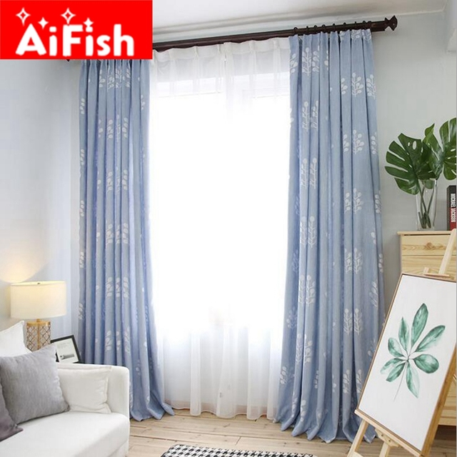 Blue Green Curtains Fabric Bamboo Cotton Jacquard Shade
