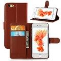 Luxo pu leather case wallet book cover para iphone 6 6 S Escudo Do Telefone Slot para Cartão de Crédito Completo Proteger Tampa Articulada Capa