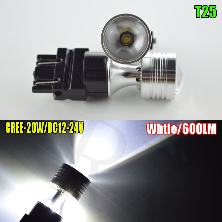 2X T25 3157 P27/7W CREE 20W LED car Brake Lights motor daytime running light Turn Signal 3156 3057 3456 3757 WHITE