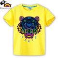 De manga corta de los niños muchachas de los cabritos de la camiseta visten ropa de color 23 colorido poderoso león feroz pintura abstracta showerlikids