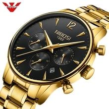 NIBOSI reloj de marca de lujo para hombre, deportivo, resistente al agua, de cuarzo dorado, de pulsera militar, reloj Saat Masculino