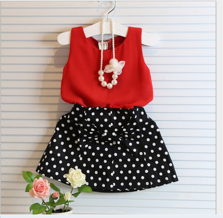 New Summer Wear Girl s Temperament Dot Chiffon Dress font b Blouse b font Wave Points