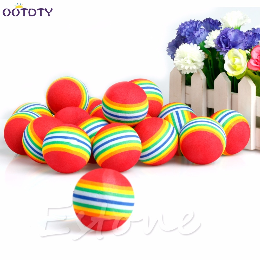 20 Pcs Rainbow Stripe FOAM Sponge Golf Balls Swing Practice Training Aids Sports