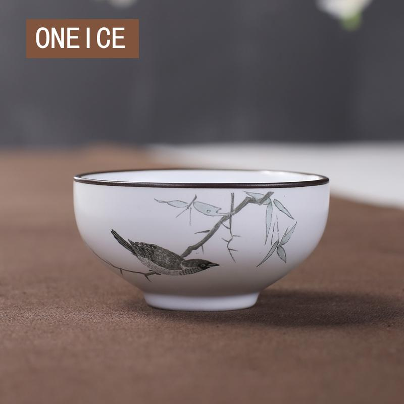 Chinese Style Delicate Handmade 50ml Small  Tea Cup Jingdezhen Rough Pottery Tea Bowl Hand Painted Lotus Cup