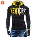 Бренд Толстовка Мужская Мода Нью-Йорк Руно Капюшоном Мужские Костюмы Moleton Masculino Sudaderas Hombre Уличной XXL