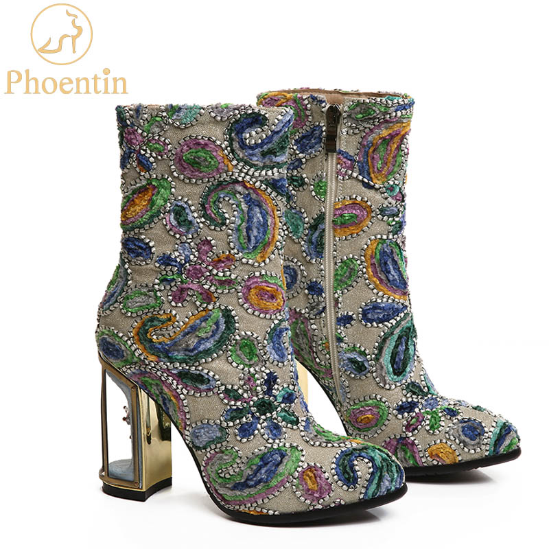 Phoentin ethnic print flower women's boots mixed color crystal bird cage high heels 10cm high quality female short boots FT255
