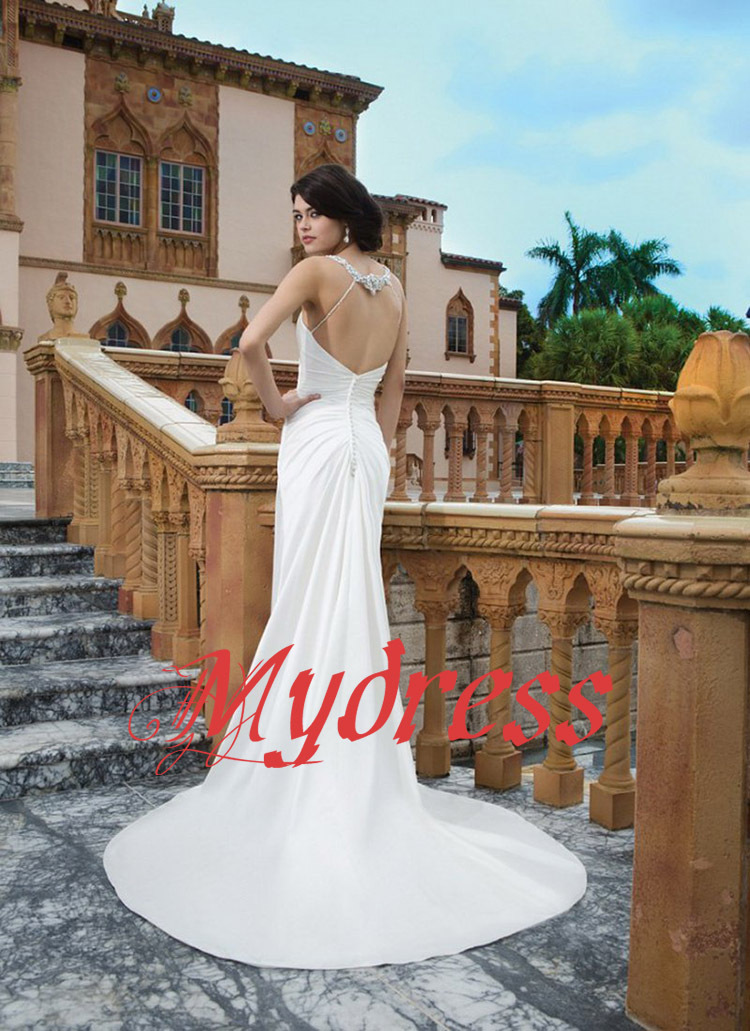 1a88084f93 Fast Shipping DHL Top Sexy Backless Satin Beach Wedding Dresses Ebay  Vestidos De Noiva Plus Size Dress Bride From China D286-in Wedding Dresses  from ...