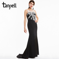 Tanpell Long Evening Dress Sexy Black Scoop Sleeveless Appliques Sweep Train Gown Women Prom Formal Lace