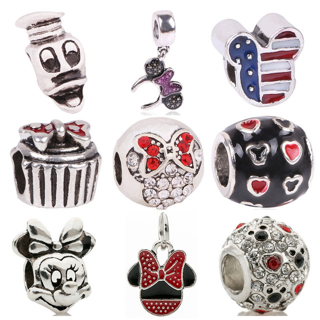 AIFEILI Big Hole Silver Color Beads Cute Mickey Charms Fits Diy Pandora Charms Bracelet Jewelry Wholesale Beads