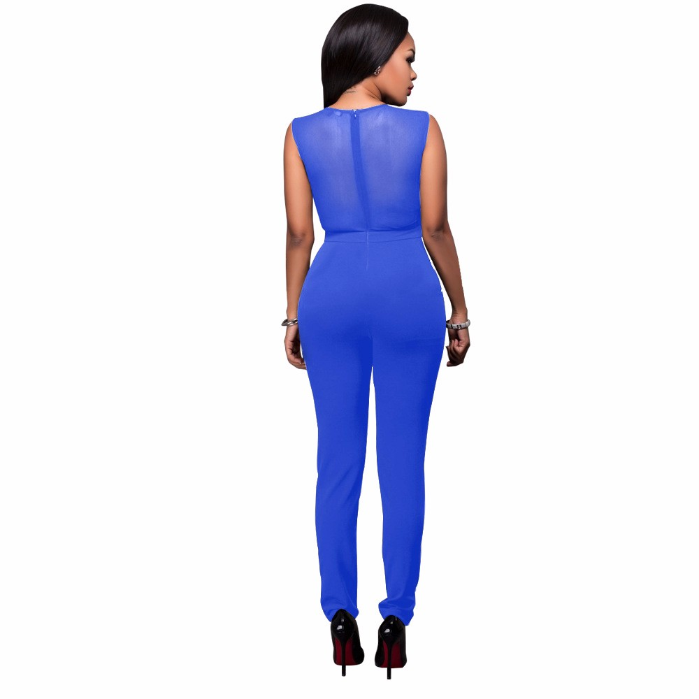 2017 New Summer Women Jumpsuit Bandage Black Bodysuit V-Neck Sleeveless Print Zipper Back Sexy Bodycon Jumpsuits And Rompers 19