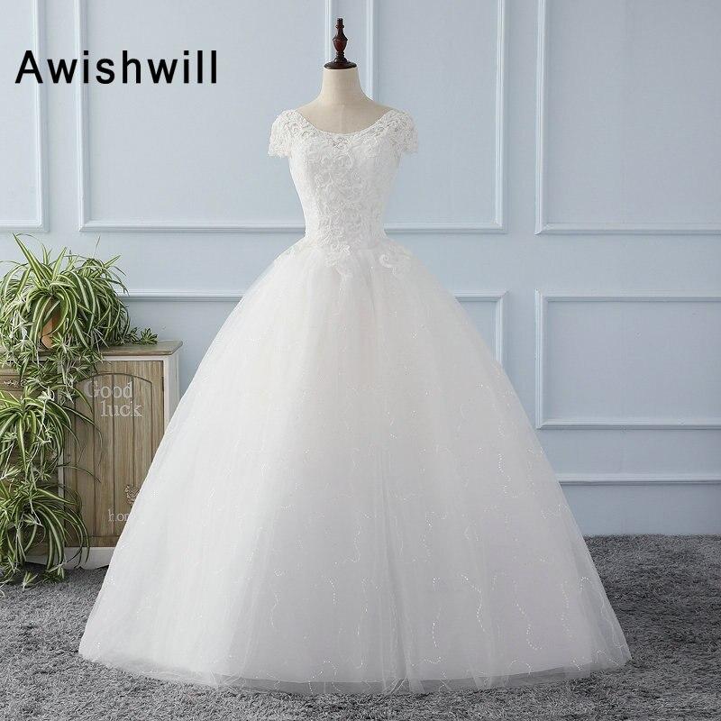 Short Sleeve Wedding Dress Fashionable Beaded Lace Tulle Floor ...