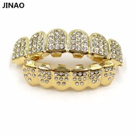 JINAO New Custom Fit Gold Plated 4 Lows Iced Out Hip Hop Teeth Grillz Top Grill