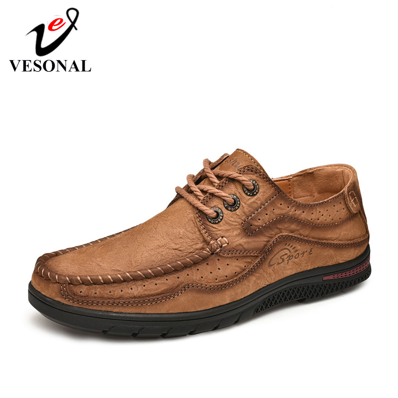 VESONAL 2019 Autumn Genuine Leather Sneakers Men Shoes Loafers Casual classic Slip On Soft Comfortable Male