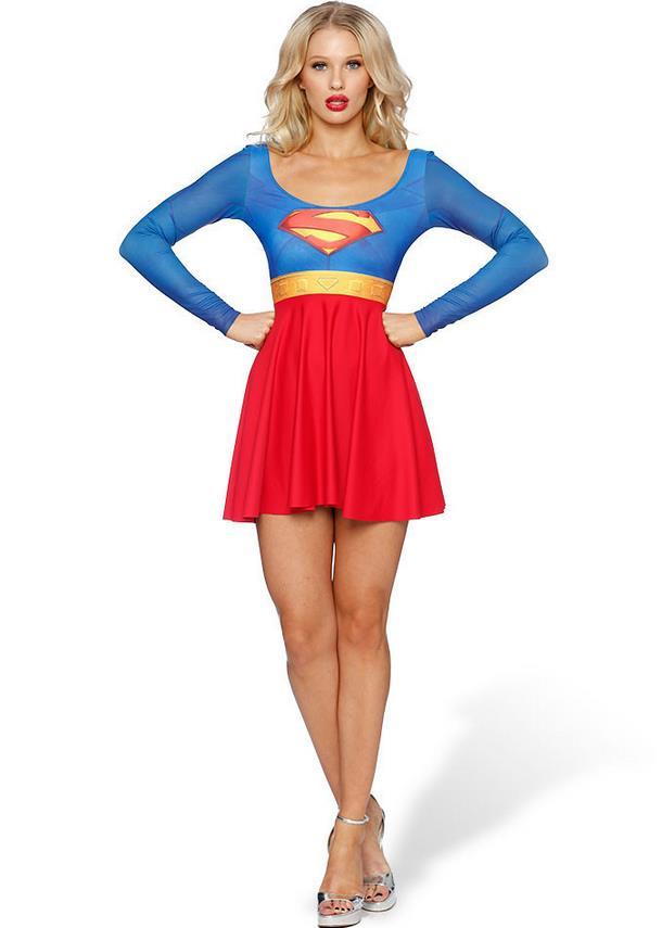 Free shipping 2017 Summer Supergirl Dresses cosplay  Beach Dresses Wonder Woman
