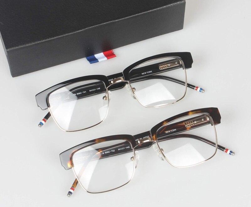 Half frame eyeglasses frames men square optical gold black eye glasses frames for women thom brand