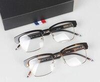 Half frame eyeglasses frames men square optical gold black eye glasses frames for women thom brand designers tb806 Clear Glasses
